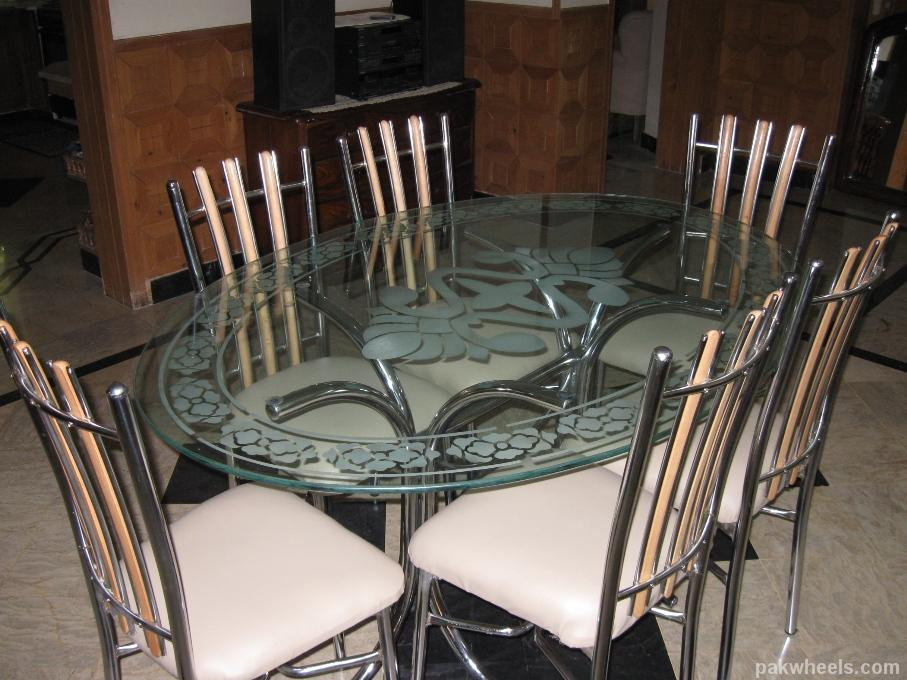 Fs dining table glass 6 chairs wood chrome isb non for Non wood dining table