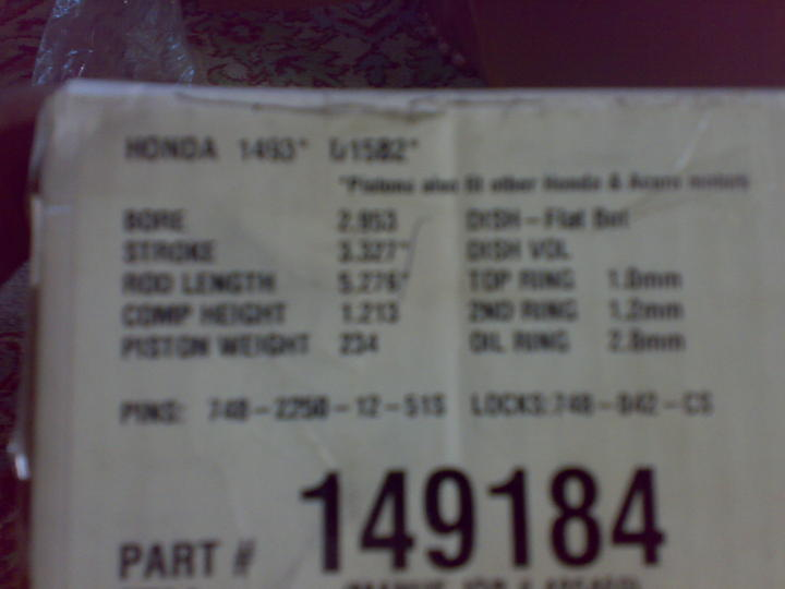 F S honda D15 D16 turbo pistons and rods - Cars - PakWheels